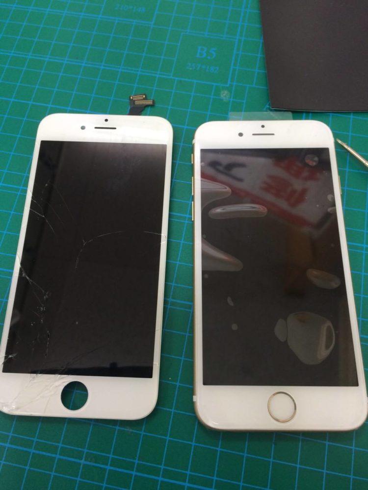 iPhone6画面交換前後の写真