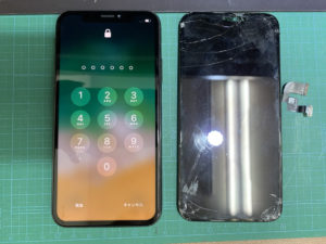 iPhoneX 画面割れ 修理後写真