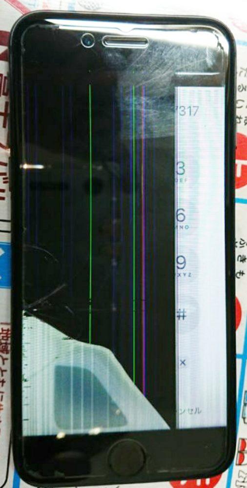 iPhone8画面割れ、液晶漏れ修理前